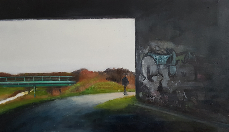 The Long Walk Home, 2018 oil on canvas on hardboard, 32 x 58 cm