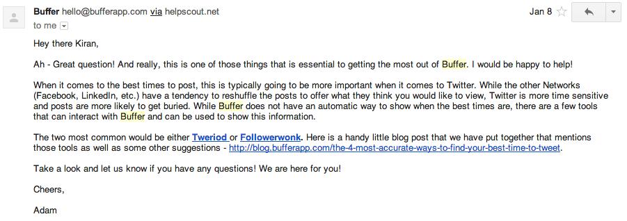 Buffer team response
