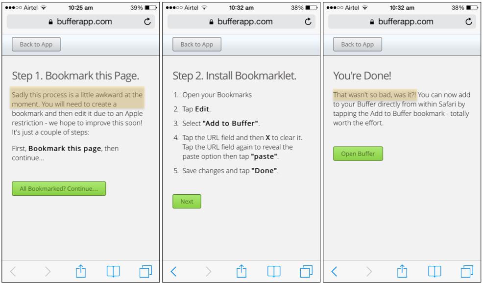 Buffer iOS Safari Installation