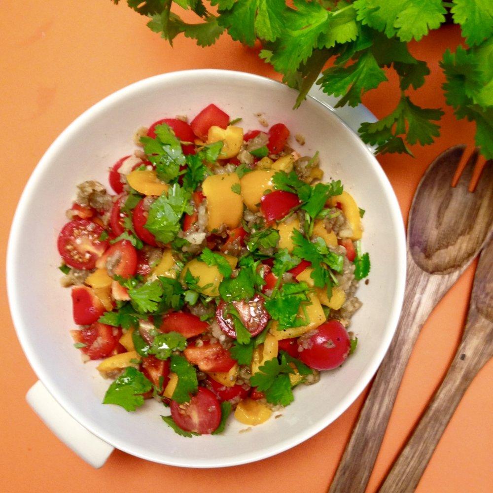 Aubergine salad recipe -