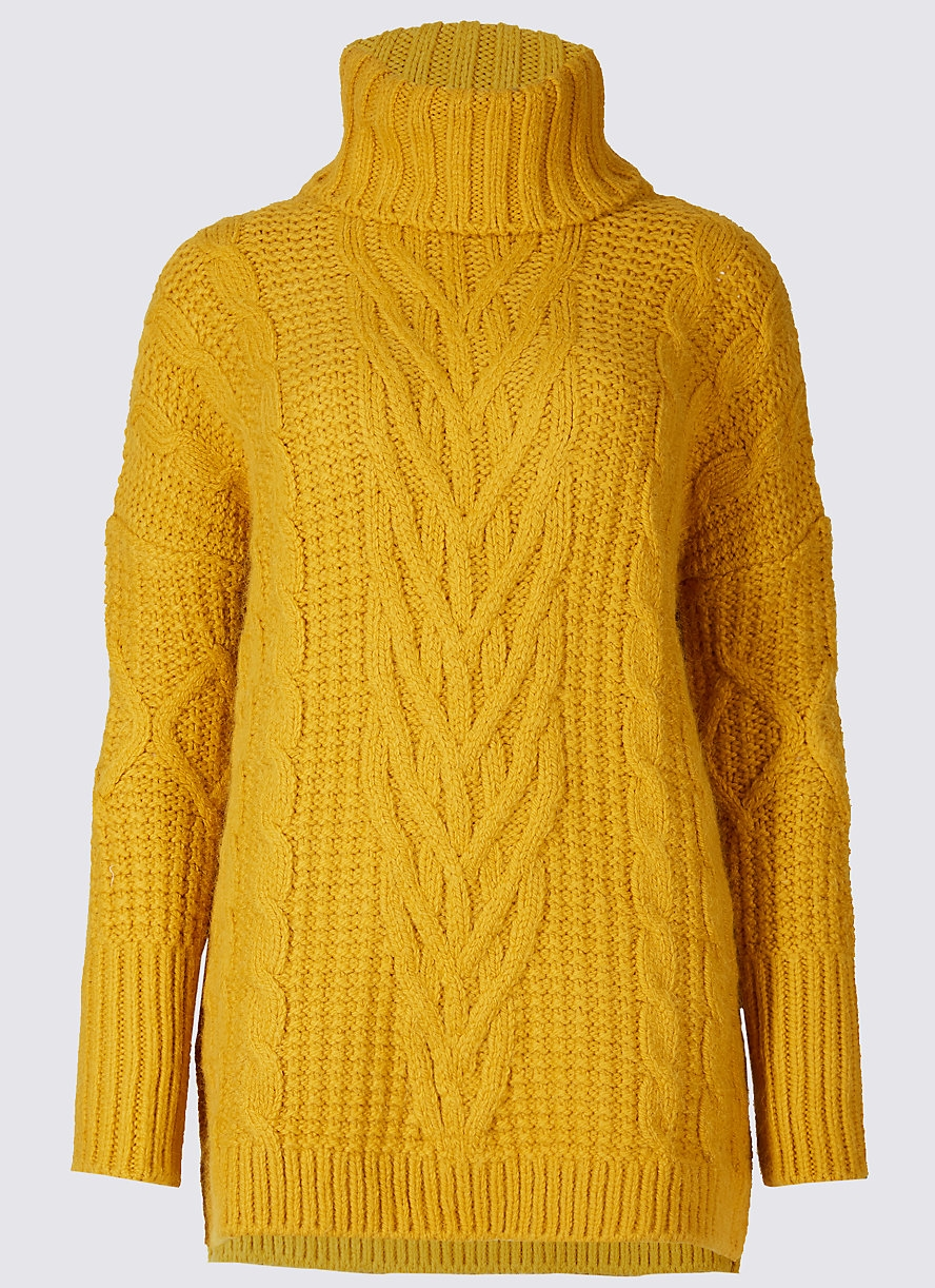 M&S COLLECTION Cable Knit Turtle Neck Jumper £35.00