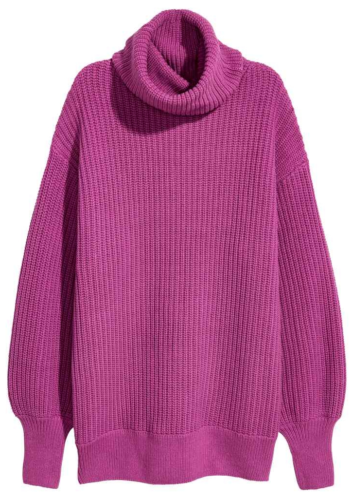 H&M Magenta Polo-neck jumper in a rib-knit cotton blend £34.99