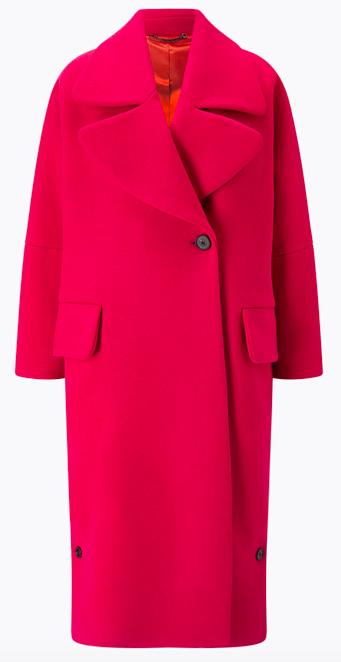 JIGSAW Lux wool round lapel coat, deep fuchsia £360.00