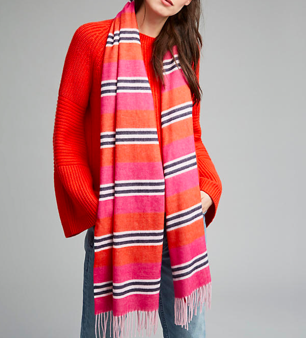 The Hot Flush favourite   Anthropologie Jula Oversized Striped Scarf, Pink £58.00
