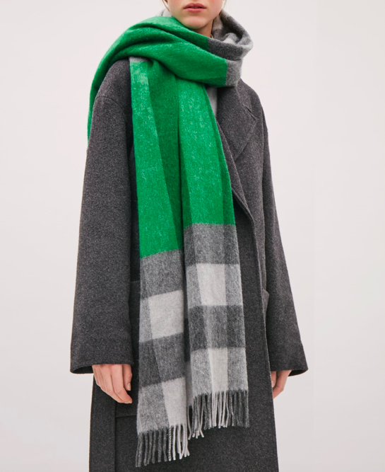 COS Check and stripe scarf £49COS Round-neck A-line coat £150.00