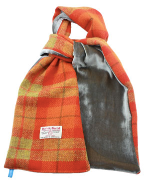 HELEN CHATTERTON Harris Tweed and velvet Orange Grey scarf £68.00
