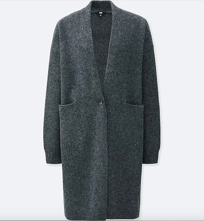 UNIQLO WOMEN MELANGE WOOL LONG SLEEVE COAT £29.90
