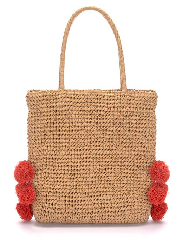 MINT VELVET Sandy Pom Pom Slouch Straw Bag £49