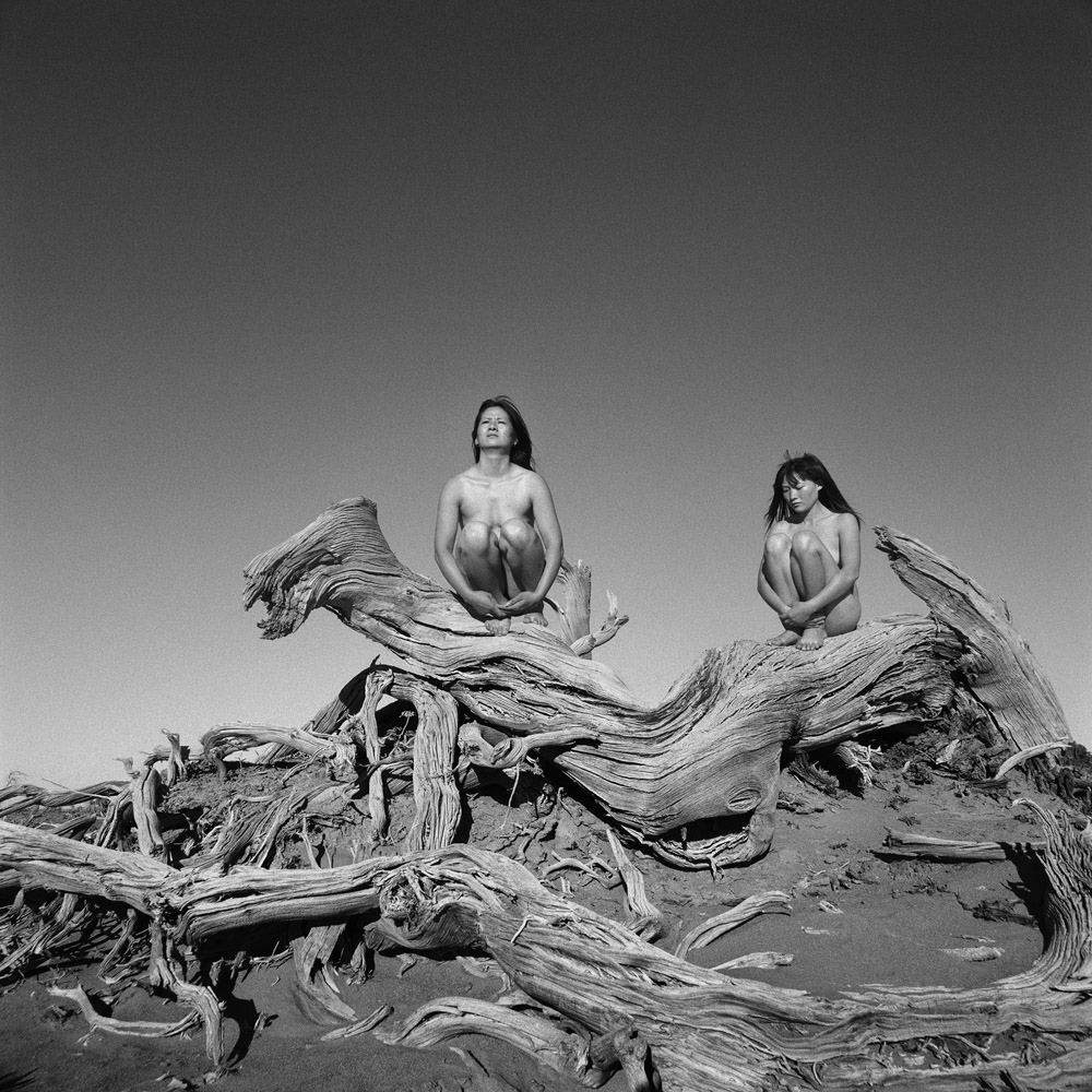 "Zhong Weixing   Zhong Weixing's ""Lost Paradise"" was shot in the summer of 2007 in the Ejin Desert in Inner Mongolia. The series deals directly with the relationship between humanity and nature. By placing nude models in nature, Zhong highlights human vulnerability in the face of nature, as represented by China's northeastern deserts. Instead of focusing on desertification from a document-ary standpoint, he expresses his admiration for the desert by highlighting the contrast between the various textures of wood, sand, bone, and skin."