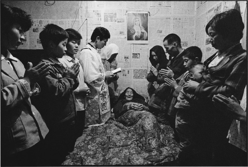 A Priest and Parishioners Pray for a Sick Woman, Shaanxi, China