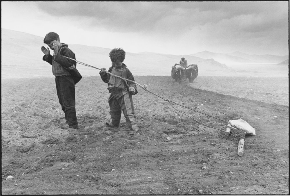 A Family at Work in the Fields During a Sandstorm, Tibet