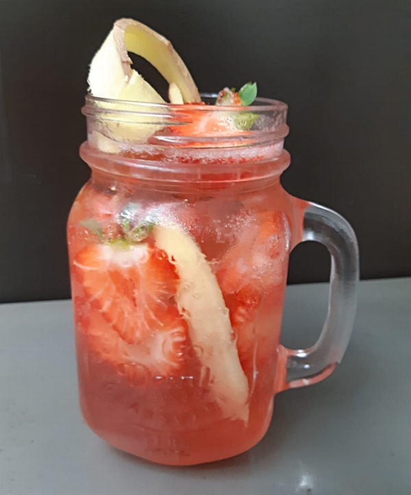 Strawberry Rhubarb Smash   Using Mother's Ruin Rhubarb Vodka