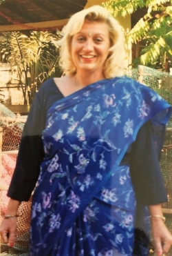 Karen attending her son's confirmation in her favourite Midnight Blue Sari, purchased in Delhi