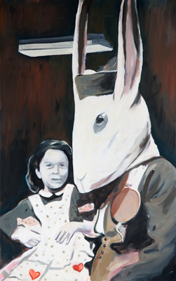 Girl and Mr. Cottontail, 150 x 95 cm, acrylic and oil, 2013