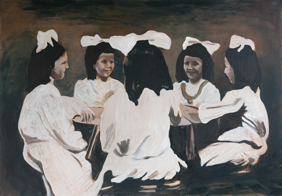 Girls with white ribbons, 140 x 200 cm, acrylic and oil, 2012