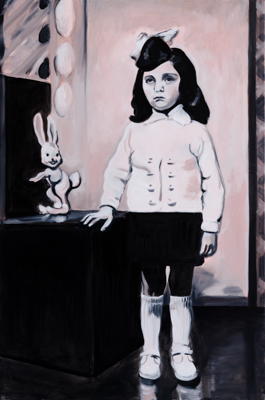 The girl and the bunny, 150 x 100 cm, acrylic and oil, 2012