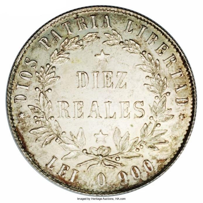 Patrón de 10 reales 1855. Monedas de Repubica Dominiana
