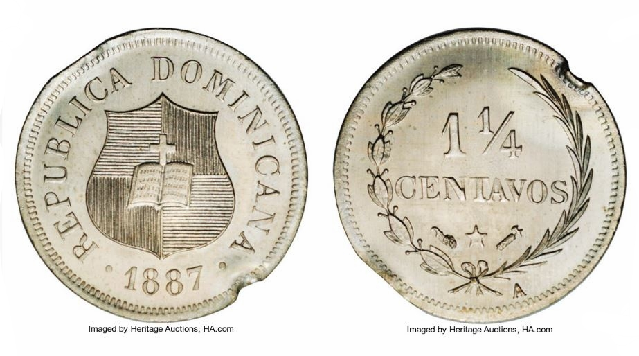 PATRON MONEDA 1 1/4 1887. REPUBLICA DOMINICANA