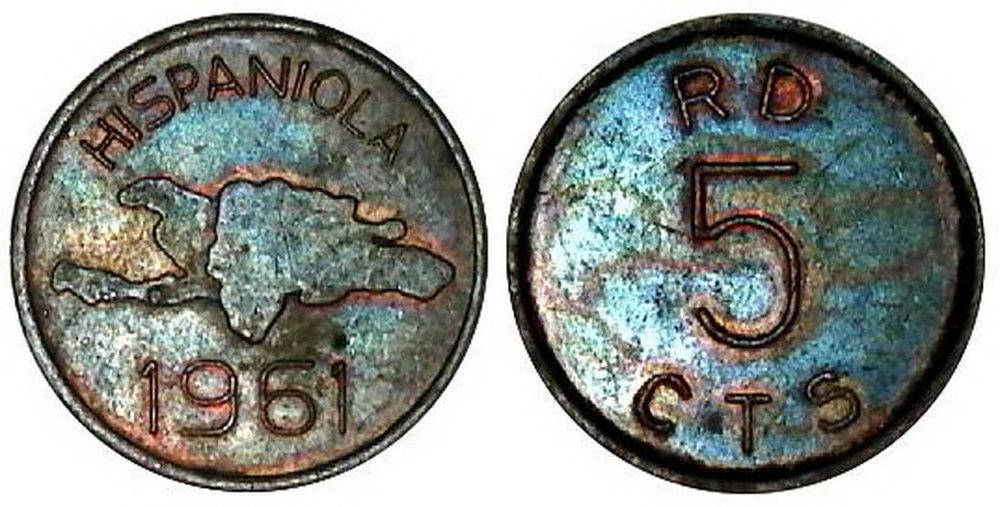 Hispaniola. Patrones de monedas de 5 centavos 1961. Republica Dominicana