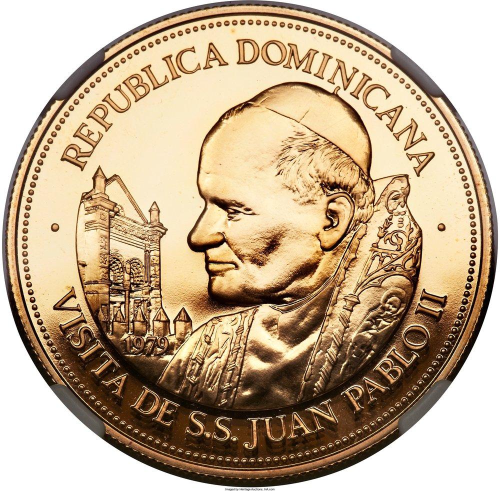 Moneda Dominicana conmemorativa visita Papa