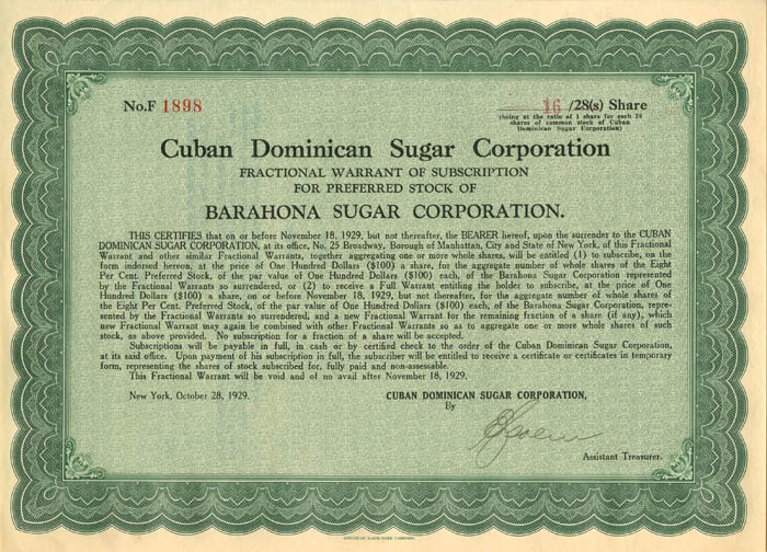 Acciones de la Cuban Dominican Sugar Corporation