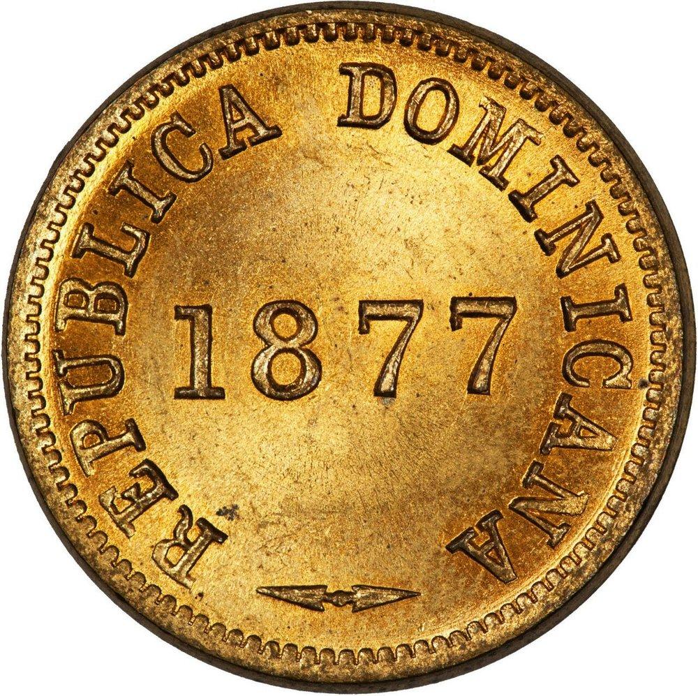 1 centavos. 1877. República dominicana