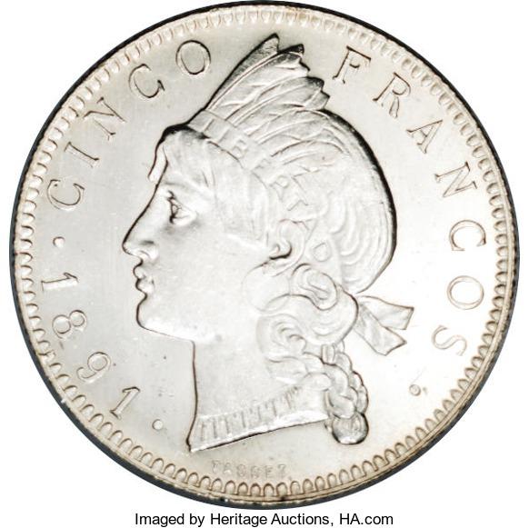 5 franco. 1891. República Dominicana
