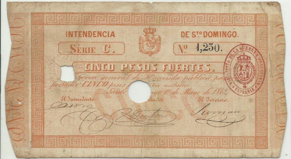 INTENDENCIA DE SANTO DOMINGO. 5 Pesos Fuerte