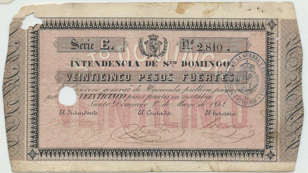INTENDENCIA DE SANTO DOMINGO. 25 pesos fuerte