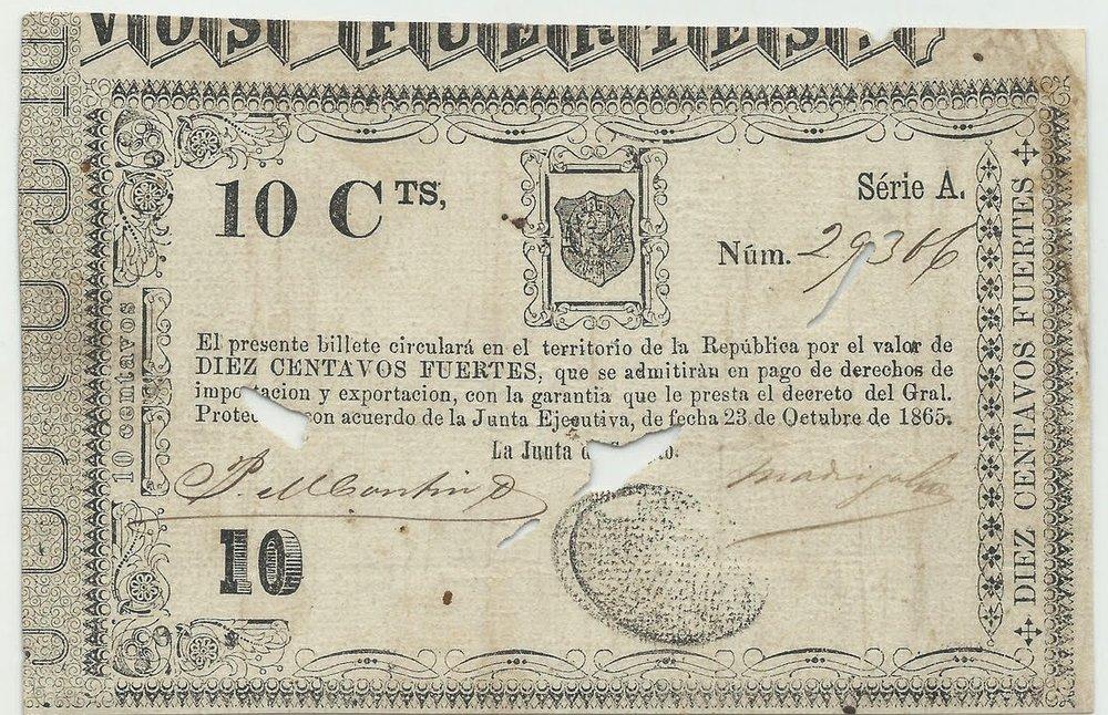 Billete 10 centavos. República Dominicana. Segunda Republica.