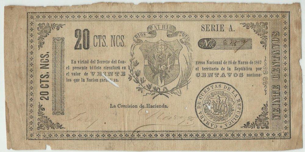 Billete 20 centavos. República Dominicana. Segunda Republica.