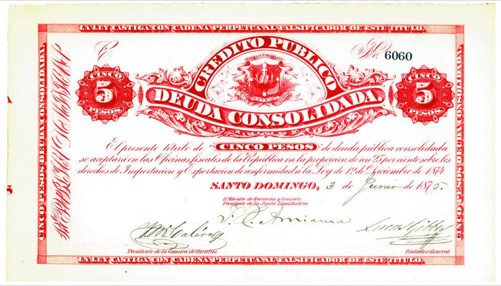 5 Pesos. Credito Publico Deuda Consolidada. 1875. República Dominicana.