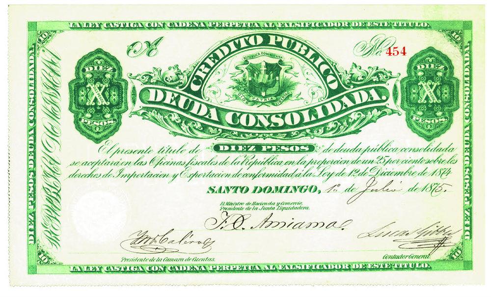 10 Pesos. Credito Publico Deuda Consolidada. 1875. República Dominicana.