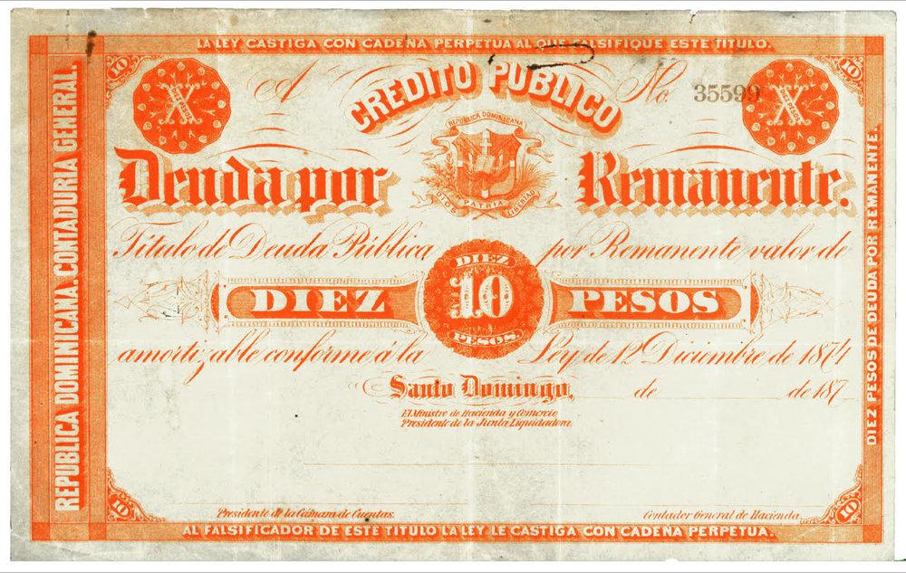 10 Pesos. Credito Publico Deuda Remanente. 1874. República Dominicana.