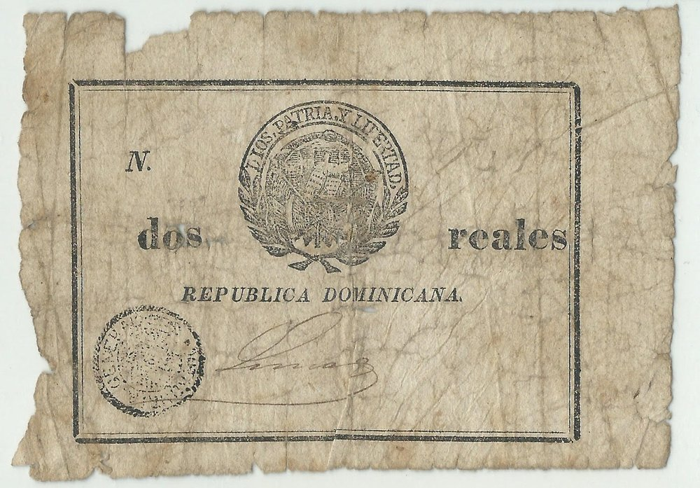Billete 2 reales. Republica Dominicana