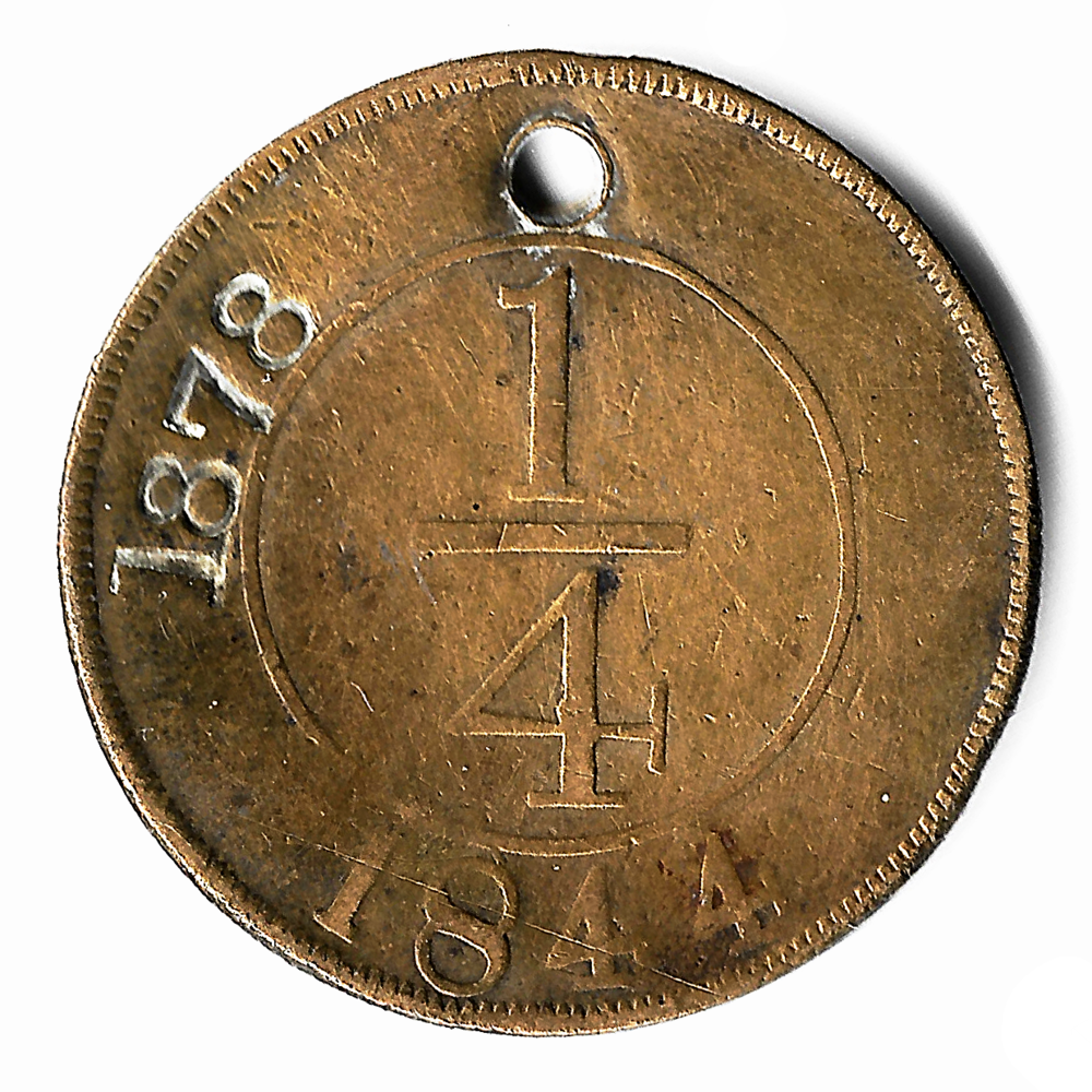 Contramarca privada 1878 sobre 1/4 de real de 1844, República Dominicana. Colección Núñez