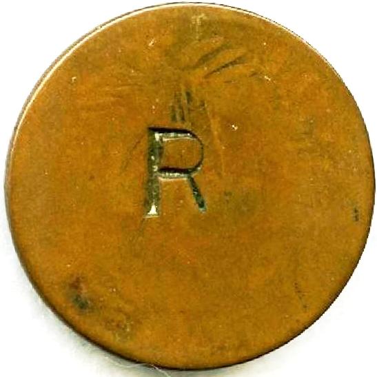 Contramarca privada, R (a) P (r) sobre 5 céntimos de franco 1891. República Dominicana. Colección Henríquez