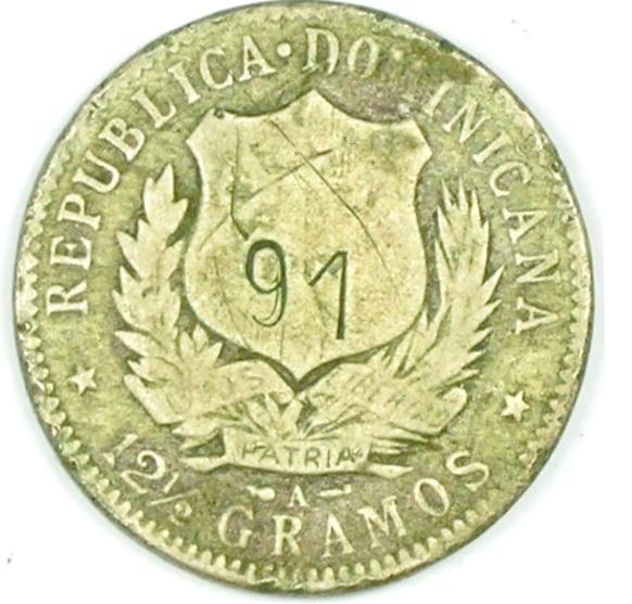Contramarca privada 91, sobre 50 centavos (MEDIO PESO) de 1897. República Dominicana.Colección Henríquez