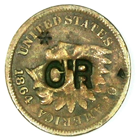 Contramarca privada CR sobre centavo norteamericano 1864 utilizado por el Central Romana. Colección Henríquez