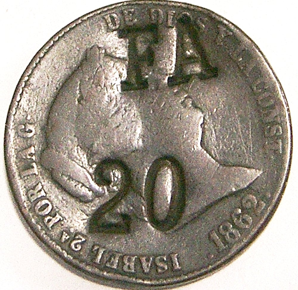 Contramarca privada FA, sobre moneda española de 25 cent de Real 1862. Foto Thomas Vincet