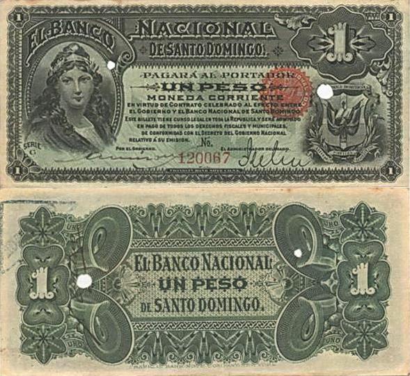 Billetes de 1 peso. Banco Nacional de Santo Domingo. 1898-1899. Papeletas de Lilis. Republica Dominicana