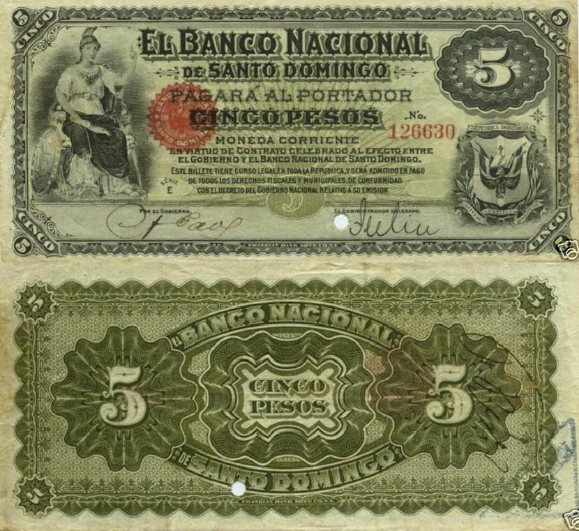 Billetes de 5 pesos. Banco Nacional de Santo Domingo. 1898-1899. Papeletas de Lilis. Republica Dominicana
