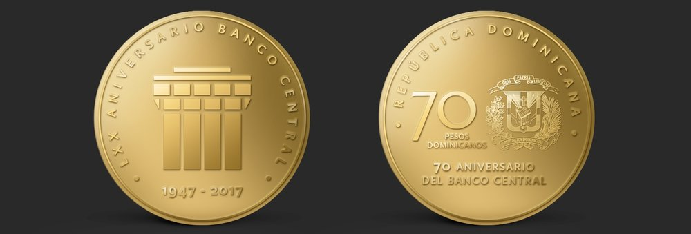 Moneda de 70 conmemorativo 70 aniversario Banco Central Republica Dominicana