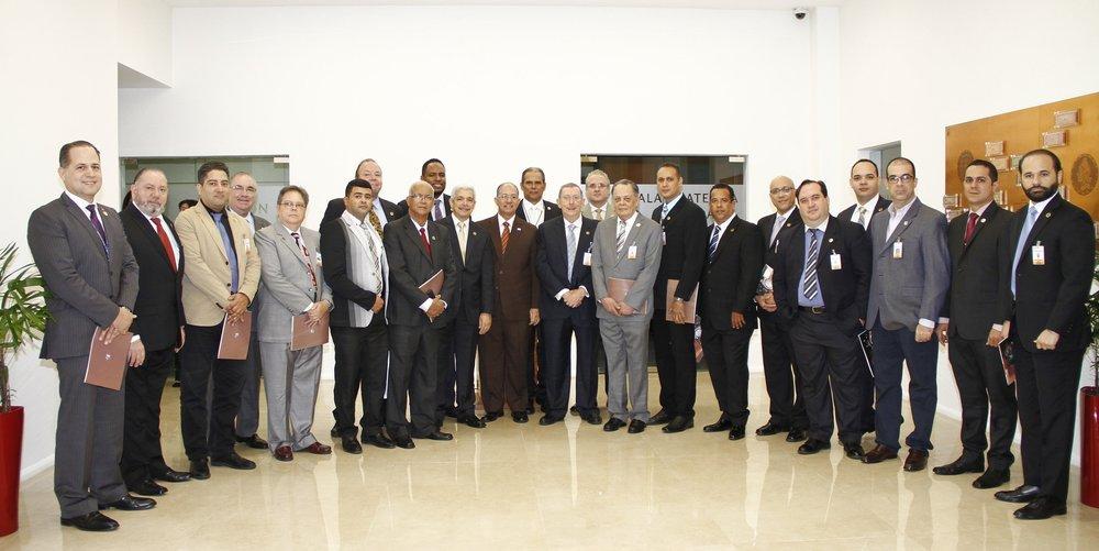 Miembros de nuestra sociedad, participantes en la Inauguración de Numiexpo Caribe - Santo Domingo 2018, en los salones del Museo Numismático del Banco Central de la República Dominicana.