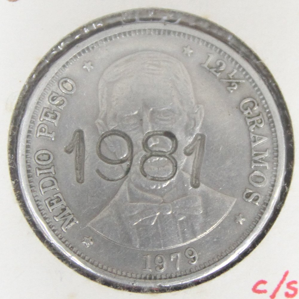 contramarca 1981 sobre moneda dominicana