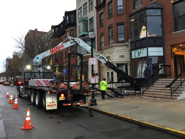 Storefront renovation on Newbury Street