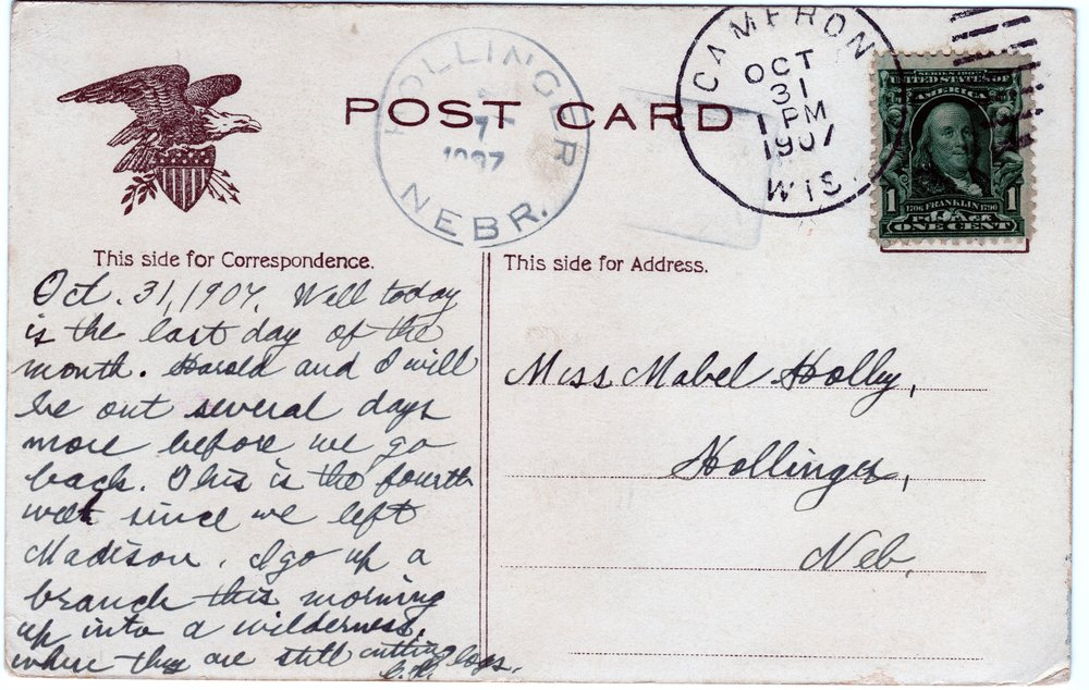 To Miss Mabel Holley (back)