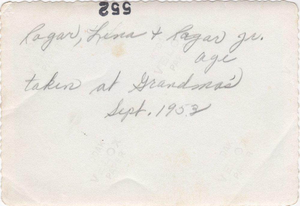 Ragar, Lina and Ragar Jr. - 1953 (back)