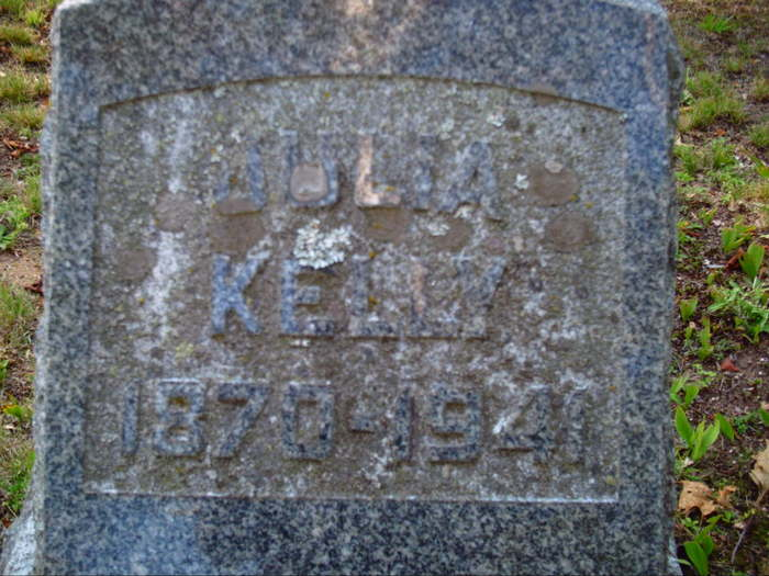 Headstone for Julia Kelly (1870-1941) at  Forest Hill Cemetery in Houghton, Michigan