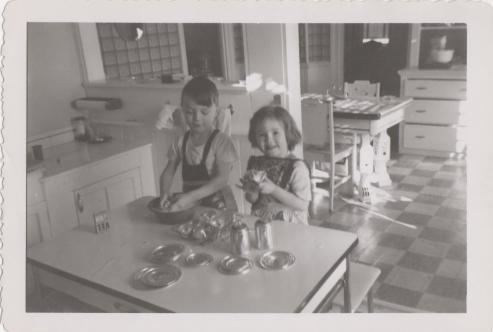 "1950s kids ""washing"" dishes in the kitchen"